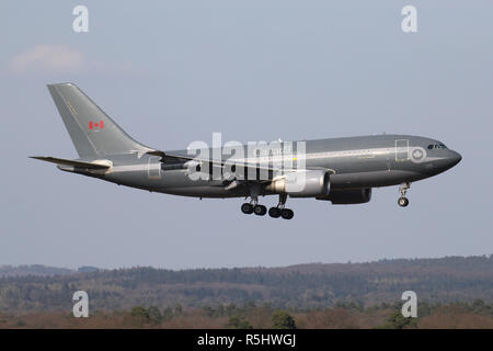 Canadian Armed Forces Airbus CC-150 Polaris with registration 15005 on short final for runway 14L of Cologne Bonn Airport. - Stock Photo