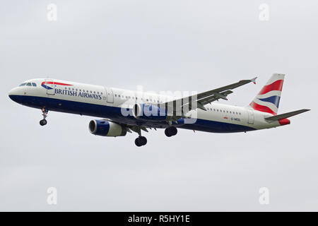 British Airways Airbus A321-231 G-MEDL landing at London Heathrow airport - Stock Photo