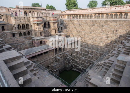 Chand Baori stepwell in the village of Abhaneri, Rajasthan, India - Stock Photo