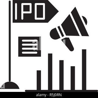 Initial public offering black icon, vector sign on isolated background. Initial public offering concept symbol, illustration  - Stock Photo