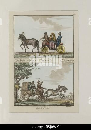 Russian Carriages: Droshky and Kibitka. Museum: PRIVATE COLLECTION. Author: Dürfeldt, Friedrich. - Stock Photo