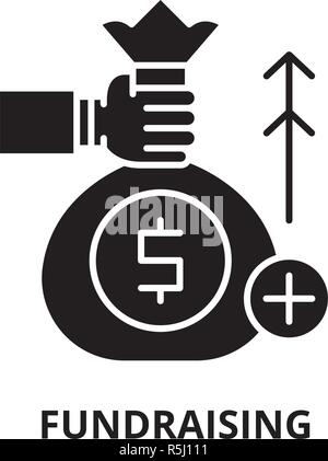 Fundraising black icon, vector sign on isolated background. Fundraising concept symbol, illustration  - Stock Photo