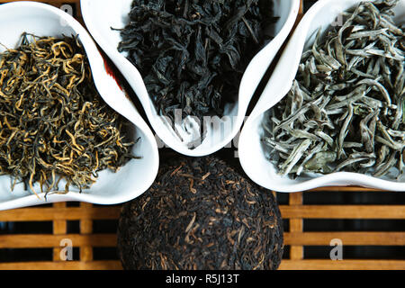 different types of tea in drinking bowls - Stock Photo