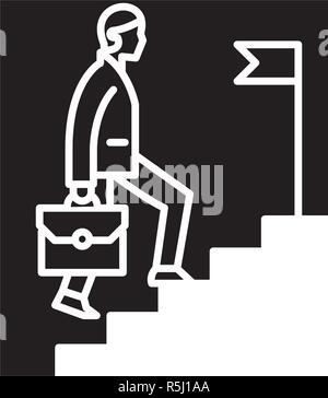 Business career black icon, vector sign on isolated background. Business career concept symbol, illustration  - Stock Photo