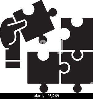 Puzzle pieces black icon, vector sign on isolated background. Puzzle pieces concept symbol, illustration  - Stock Photo