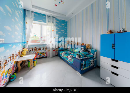 Moscow, Russia, 05.05.2018: Picture of a modern baby room designed in style - Stock Photo