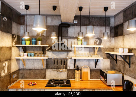 Moscwo, Russia, 06.02.2018: Interior of modern kitchen - Stock Photo