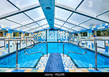 NEW YORK CITY - AUGUST 27, 2016: A colorful pop-up swimming pool - Stock Photo