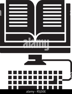 E-book reading black icon, vector sign on isolated background. E-book reading concept symbol, illustration  - Stock Photo