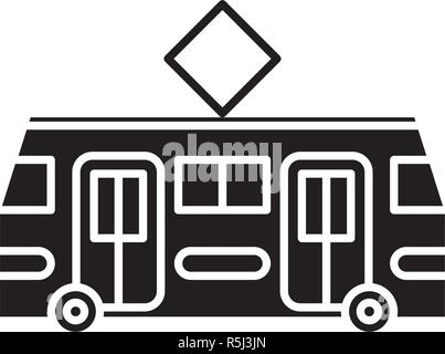 Tramway black icon, vector sign on isolated background. Tramway concept symbol, illustration  - Stock Photo