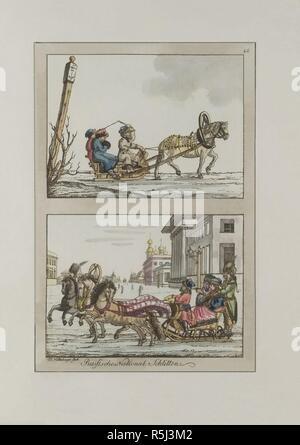 Russian sledges. Museum: PRIVATE COLLECTION. Author: Dürfeldt, Friedrich. - Stock Photo