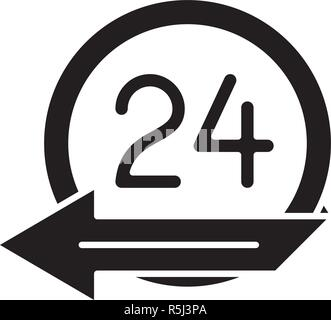 24 hours service black icon, vector sign on isolated background. 24 hours service concept symbol, illustration  - Stock Photo