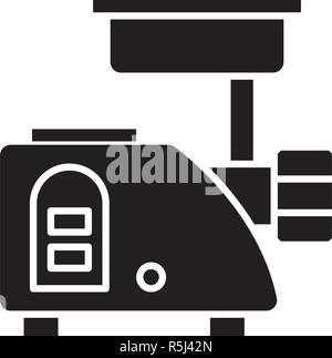 Meat grinder black icon, vector sign on isolated background. Meat grinder concept symbol, illustration  - Stock Photo