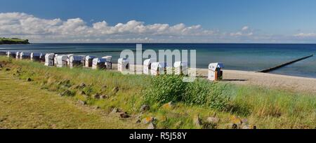 steep coast,baltic sea and beach chairs on the beach of boltenhagen,district redewisch,nordwestmecklenburg,northern germany - Stock Photo