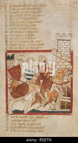 Hengist takes refuge at Conisborough. ROMANCES in French verse ... 14th century. Source: Egerton 3028, f.27. Author: Wace, Canon of Bayeux. - Stock Photo