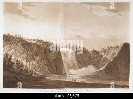 Landscape with a waterfall on the left, down a tree-covered mountain-side, creating billows of spray below in a semicircular bay. Mountains opposite and figures on the shore in the foreground, looking at the cascade across the calm surface of the river, including a family with a canoe, the man carrying a spear, with a woman and a small child. FALL OF MONTMORENCI, 246, perpendicular Feet. [London] : Pubd Feby 1 1796 by J.W. Edy, No 2, Romney Row, St John's, Westminster., [February 1 1796]. Aquatint and etching. Source: Maps K.Top.119.30.f. Language: English. Author: Edy, John William. - Stock Photo