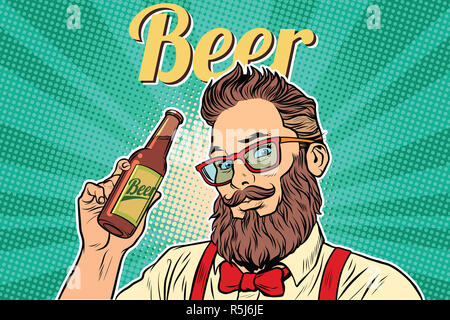 bearded hipster beer - Stock Photo