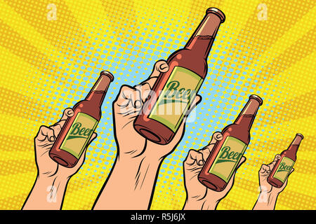 many hands with a bottle of beer - Stock Photo