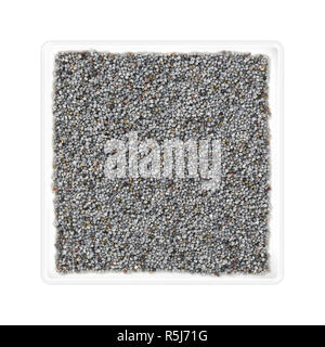 Poppy seeds in square bowl on white background - Stock Photo