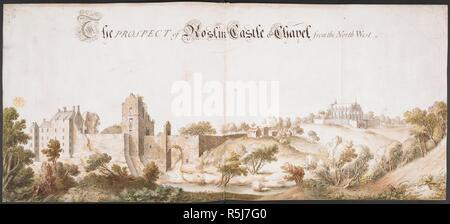 A prospect of Roslin Castle and Chapel, from the north-west. A colored 'prospect of Roslin Castle and Chapel, from the north-west'. 1761. Source: Maps K.Top.49.79.a. Language: English. - Stock Photo