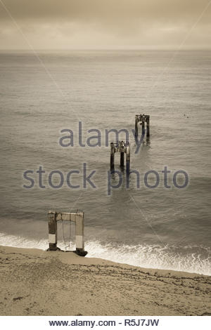 Abandoned Davenport Pier. - Stock Photo