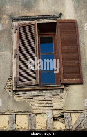 Window in Half timbered lattice construction houses in Troyes France - Stock Photo
