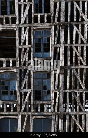 Wood work of Old mill in Bar sur Seine Aube - Stock Photo