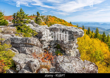 Colorful fall foliage adorns Bear Rocks at the Dolly Sods Wilderness in the Allegheny Mountains of West Virginia. - Stock Photo