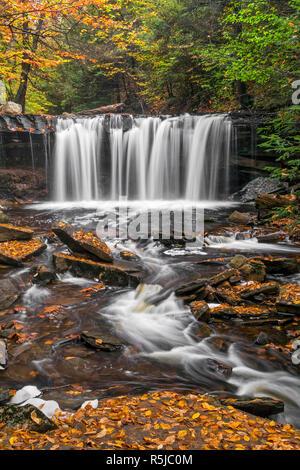 Oneida Falls, a beautiful waterfall in Ganoga Glen at Pennsylvania's Ricketts Glen State Park, flows through an autumn landscape. - Stock Photo