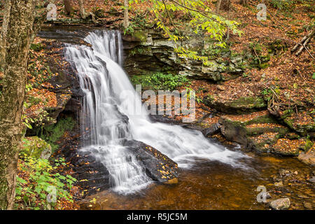 Dry Run Falls, a beautiful waterfall in Pennsylvania's Loyalsock State Forest, splashes through the fall landscape. - Stock Photo