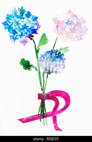 bouquet from fresh hortensia flowers - Stock Photo