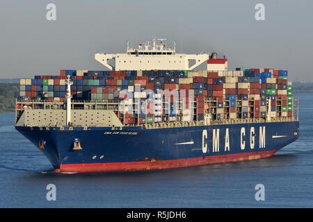 CMA CGM Vasco de Gama passes Hamburg Blankenese - Stock Photo