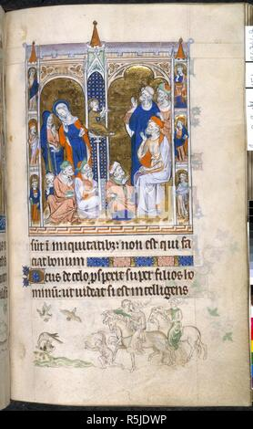 Jesus in the Temple; hawking. Queen Mary Psalter. England (London?); circa 1310-1320. (Whole folio) Above, miniature showing Jesus seated on a high column, with the Virgin and Joseph either side, expounding to doctors in the Temple; below, text of Psalm 52: 2-3 with bas-de-page scene showing hawking, with man and two women on horseback, with man on foot holding a lure, and a hawk striking a duck.  Image taken from Queen Mary Psalter.  Originally published/produced in England (London?); circa 1310-1320. . Source: Royal 2 B. VII, f.151. Language: Latin. - Stock Photo