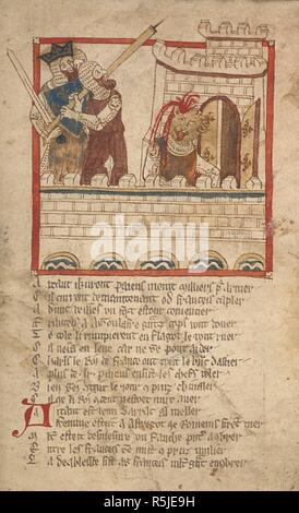 Charlemagne and Richard slay Agolafre. ROMANCES in French verse ... 14th century. Source: Egerton 3028 f.113. Author: Wace, Canon of Bayeux. - Stock Photo