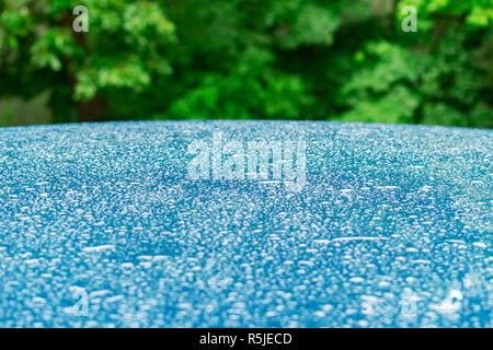Water drops on blue metal surface with green leafs in the back. Abstract background - Stock Photo