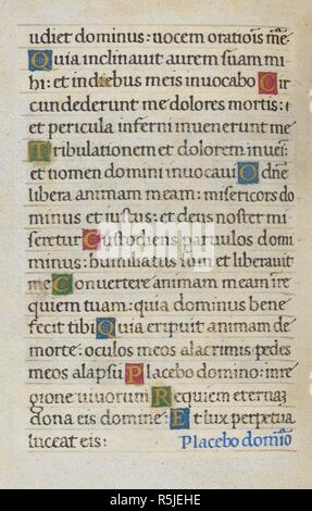 Text page; Psalm 114. Mirandola Hours. Italy, circa 1490-1499. [Whole folio] Text page from the Office of the Dead. Psalm 114 Image taken from Mirandola Hours. Originally published/produced in Italy, circa 1490-1499. Source: Add. 50002, f.85v. Language: Latin. Stock Photo