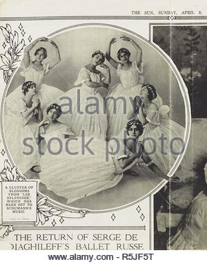 Ballet Russes dancers in ballet Les Sylphides, New York. (Olga Khokhlova - lying in the center). Museum: Musée Picasso, Paris. Author: ANONYMOUS. - Stock Photo