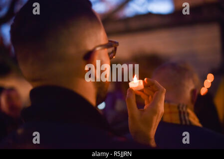 British Council, London, UK. 1st December 2018.  Candlelit vigil is held for World AIDS Day outside the British Council. Credit: Matthew Chattle/Alamy Live News - Stock Photo