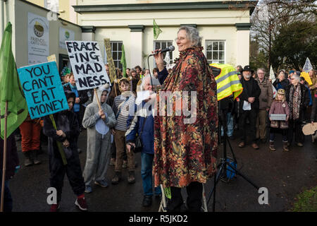 Hereford, UK. 1st December, 2018. Cathy Monkley, climate activist, speaking at a demonstration by he newly formed local branch of the Extinction Rebellion movement in this old cathedral city . Credit: Alex Ramsay/Alamy Live News - Stock Photo