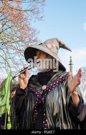 Hereford, UK. 1st December, 2018. Rick Guest (aka Gandalf), Greenpeace activist, speaking at a demonstration by the newly formed local branch of the Extinction Rebellion movement in this old cathedral city . Credit: Alex Ramsay/Alamy Live News - Stock Photo