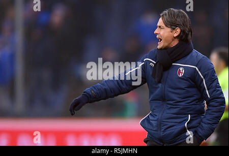 "Foto LaPresse - Tano Pecoraro 01 12 2018 Genova - (Italia) Sport Calcio Sampdoria vs Bologna Campionato di Calcio Serie A TIM 2018/2019 - Stadio ""Luigi Ferraris"" nella foto: inzaghi filippo  Photo LaPresse - Tano Pecoraro 01 December 2018 City Genova - (Italy) Sport Soccer Sampdoria vs Bologna Italian Football Championship League A TIM 2018/2019 - ""Luigi Ferraris"" Stadium in the pic: inzaghi filippo - Stock Photo"
