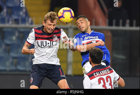 "Foto LaPresse - Tano Pecoraro 01 12 2018 Genova - (Italia) Sport Calcio Sampdoria vs Bologna Campionato di Calcio Serie A TIM 2018/2019 - Stadio ""Luigi Ferraris"" nella foto: caprari gianluca  Photo LaPresse - Tano Pecoraro 01 December 2018 City Genova - (Italy) Sport Soccer Sampdoria vs Bologna Italian Football Championship League A TIM 2018/2019 - ""Luigi Ferraris"" Stadium in the pic: caprari gianluca - Stock Photo"