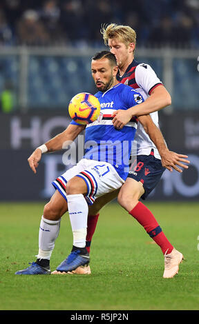 "Foto LaPresse - Tano Pecoraro 01 12 2018 Genova - (Italia) Sport Calcio Sampdoria vs Bologna Campionato di Calcio Serie A TIM 2018/2019 - Stadio ""Luigi Ferraris"" nella foto: quagliarella fabio    Photo LaPresse - Tano Pecoraro 01 December 2018 City Genova - (Italy) Sport Soccer Sampdoria vs Bologna Italian Football Championship League A TIM 2018/2019 - ""Luigi Ferraris"" Stadium in the pic: quagliarella fabio - Stock Photo"