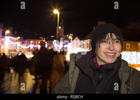 Bewdley, UK. 1st December, 2018. There is a feeling of real community spirit and festive fun this evening as the folk of Bewdley come together to support the town's annual Christmas lights switch-on and traditional Victorian Christmas Market. Hosted by local radio station BBC Hereford and Worcester presenter, Andrew Easton, with live band entertainment from the amazing Gasoline & Matches, the crowds ensure this is an evening which truly celebrates advent and the revelry of the festive season. Credit: Lee Hudson/Alamy Live News - Stock Photo