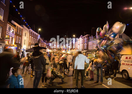 ... Christmas time · Bewdley, UK. 1st December, 2018. There is a feeling of  real community - Crowds At The Victorian Christmas Market And Lights At Night, Bridge