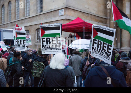 London, UK. 1st December, 2018. Pro-Palestinian activists holding placards protest outside New Broadcasting House to call on the BBC to withdraw from the 2019 Eurovision Song Contest hosted by Israel so as to avoid complicity in 'artwashing' Israel's violations of Palestinian human rights. Credit: Mark Kerrison/Alamy Live News - Stock Photo