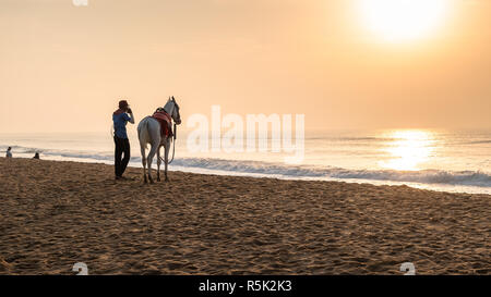 A man with his domestic Horse standing in front of the Sun and make prayer to the Sun God. Horse riding on the beach is a popular tourist activity at - Stock Photo