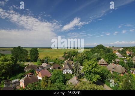 wustrow,view from the church tower,looking west,baltic sea,peninsula fischland-darss-zingst,mecklenburg-vorpommern - Stock Photo