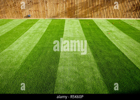 maintenance free artificial turf  lawn a modern synthetic grass carpet with stripes - Stock Photo
