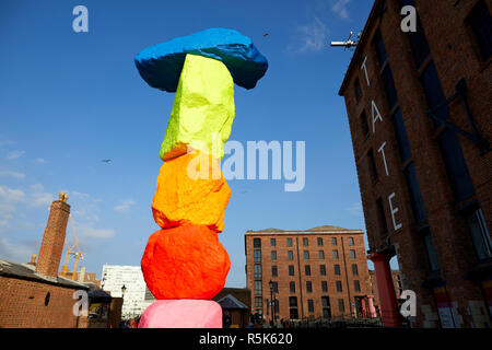 Liverpool Mountain public art on Liverpools waterfront by artist Ugo Rondinone - Stock Photo